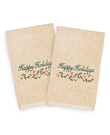 Linum Home Christmas Happy Holidays 100% Turkish Cotton 2-Pc. Hand Towel Set