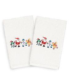 Linum Home Christmas Skating Party 100% Turkish Cotton 2-Pc. Hand Towel Set