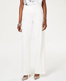 INC Wide-Leg Crêpe Side Zip High Waist Pants, Created for Macy's
