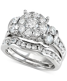 Diamond Halo Bridal Set (7/8 ct. t.w.) in 14k White Gold