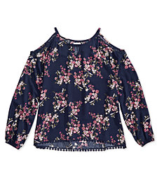 Epic Threads Big Girls Floral Cold Shoulder Top, Created for Macy's