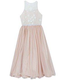 Rare Editions Big Girls Embroidered Mesh Gown