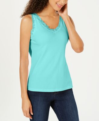Image of Karen Scott Cotton Lace-Trim Tank Top, Created for Macy's