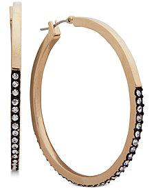 DKNY Two-Tone Pavé Hoop Earrings