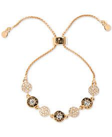 DKNY Gold-Tone Crystal & Logo Disc Slider Bracelet