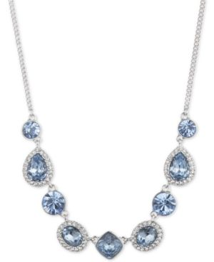 """Silver-Tone Crystal & Stone Collar Necklace, 16"""" + 3"""" Extender in Blue"""
