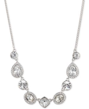 """Silver-Tone Crystal & Stone Collar Necklace, 16"""" + 3"""" Extender in Rhodium"""