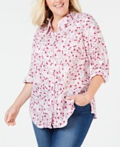 5c66c53a Charter Club Plus Size Linen Utility Shirt, Created for Macy's