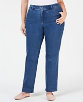 3ace2cbbca4 Charter Club Plus Size Dot-Print Tummy-Control Jeans