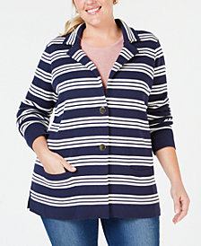 Charter Club Plus Size Cotton Striped Sweater Blazer, Created for Macy's