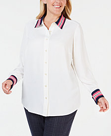 Charter Club Plus Size Striped-Cuff Button-Up Shirt, Created for Macy's