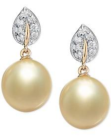 Cultured Golden South Sea Pearl (9mm) & Diamond (1/8 ct. t.w.) Drop Earrings in 14k Gold