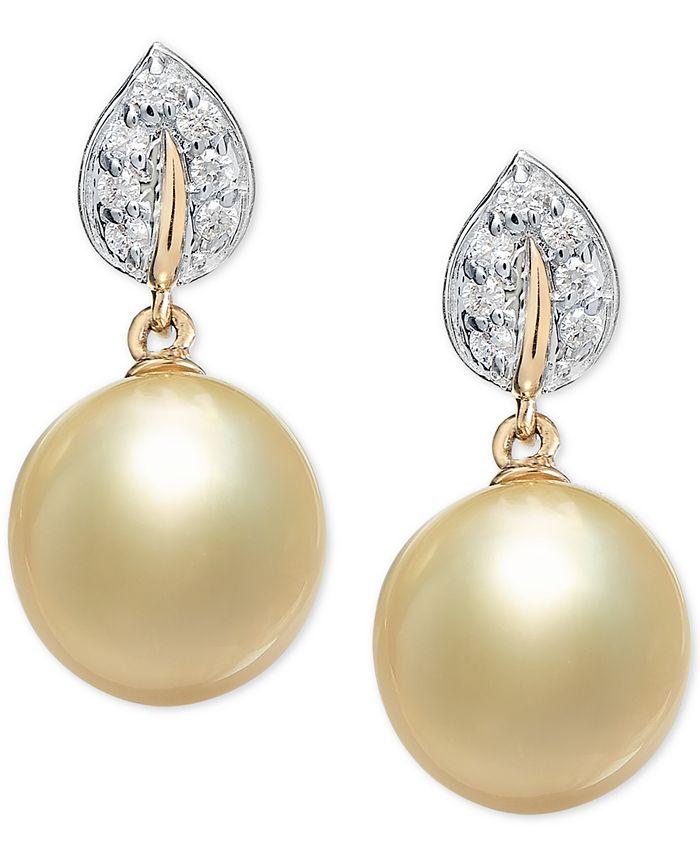 Macy's - Cultured Golden South Sea Pearl (9mm) & Diamond (1/8 ct. t.w.) Drop Earrings in 14k Gold