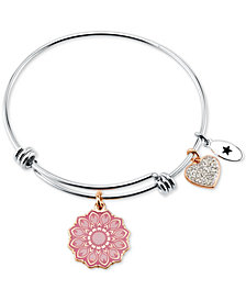 "Unwritten ""Happiness Blooms from Within"" Flower & Heart Charm Bangle Bracelet in Stainless Steel and Rose Gold-Tone"