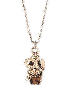 "Lauren Ralph Lauren Gold-Tone Tortoiseshell-Look Crest, Horseshoe & Key Charm Pendant Necklace, 16"" + 3"" extender"