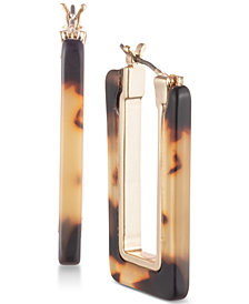 Lauren Ralph Lauren Gold-Tone Tortoiseshell-Look Hoop Earrings