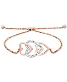 Diamond Multi-Heart Bolo Bracelet (1/10 ct. t.w.) in 14k Rose Gold, Created for Macy's