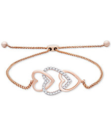 Wrapped™ Diamond Multi-Heart Bolo Bracelet (1/10 ct. t.w.) in 14k Rose Gold, Created for Macy's
