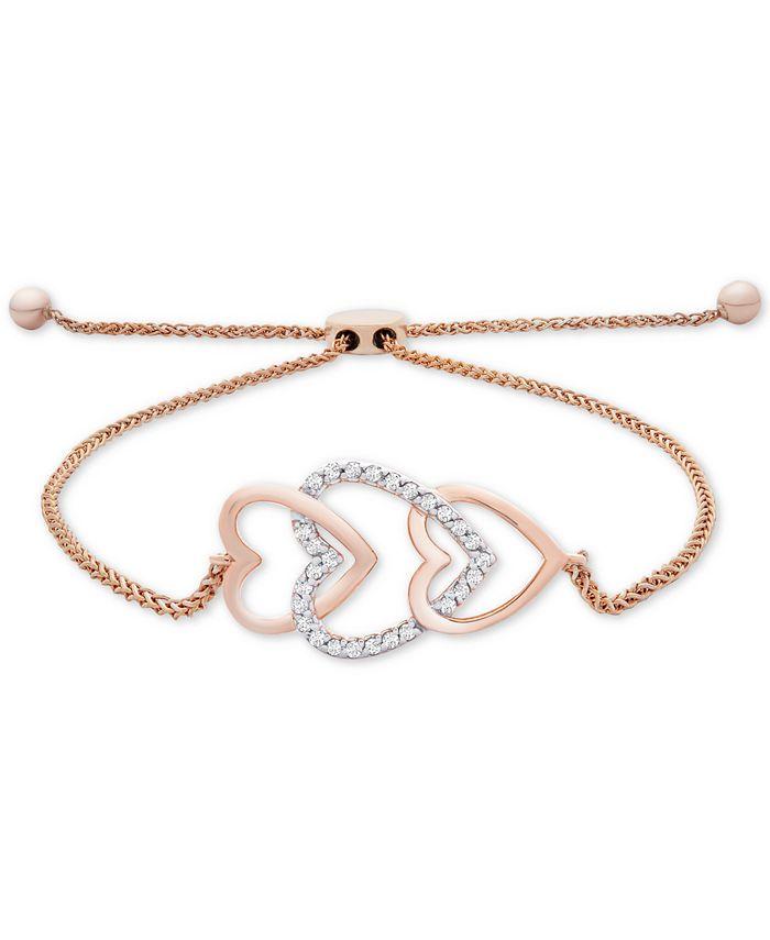 Wrapped - Diamond Multi-Heart Bolo Bracelet (1/10 ct. t.w.) in 14k Rose Gold