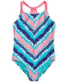 Breaking Waves Big Girls 1-Pc. Printed Swimsuit
