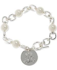 Lauren Ralph Lauren Silver-Tone Imitation Pearl & Logo Charm Link Bracelet
