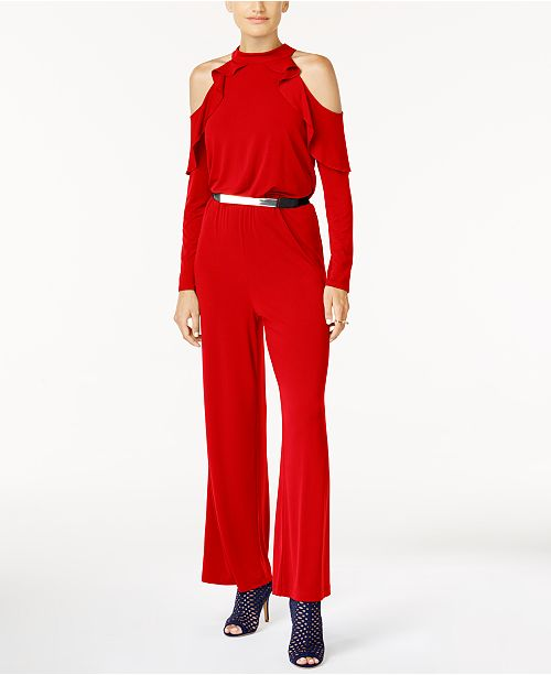 Thalia Sodi Belted Cold-Shoulder Jumpsuit, Created for Macy's