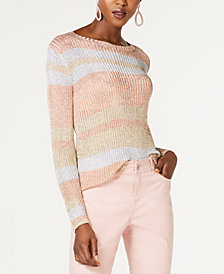 I.N.C. Metallic Ribbed Sweater, Created for Macy's