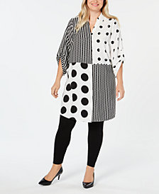 Alfani Plus Size Mixed-Print Super Tunic, Created for Macy's