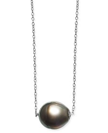 "Baroque Cultured Black Tahitian Pearl (11mm) 18"" Pendant Necklace in Sterling Silver"