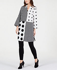 Alfani Print-Block Roll-Tab Tunic, Created for Macy's