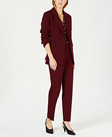 Bar III One-Button Jacket, Printed V-Neck Shell & Ankle Trousers, Created for Macy's