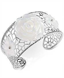 Mother-of-Pearl Flower Openwork Cuff Bracelet in Sterling Silver