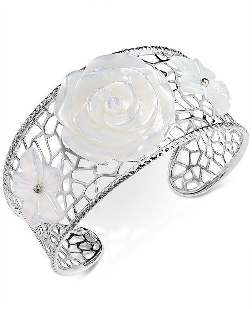 Macy's Mother-of-Pearl Flower Openwork Cuff Bracelet in Sterling Silver