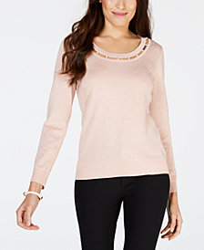 NY Collection Petite Metallic-Threaded Neckline-Cutout Sweater