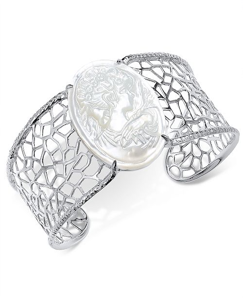Macy's Mother-of-Pearl Cameo Openwork Cuff Bracelet in Sterling Silver