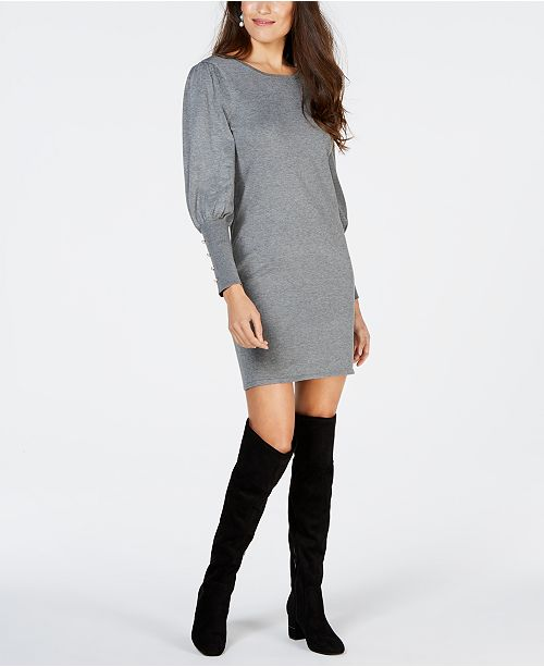 NY Collection Petite Bishop-Sleeve Button-Cuff Dress