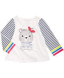 First Impressions Baby Girls Long-Sleeve Cotton Bear-Print T-Shirt, Created for Macy's