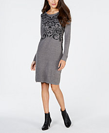 NY Collection Petite Printed Metallic-Threaded Dress