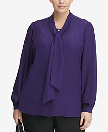 Calvin Klein Plus Size Sailor-Tie Blouse