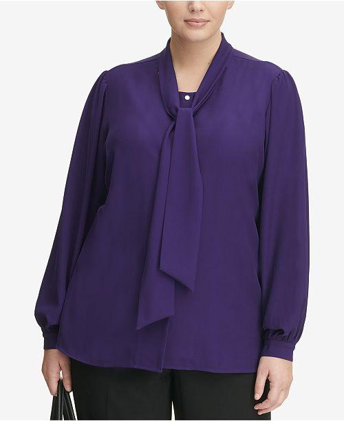 2ea2d58944f Calvin Klein Plus Size Sailor-Tie Blouse   Reviews - Tops - Women ...