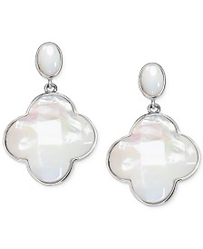 Mother-of-Pearl Clover Drop Earrings in Sterling Silver