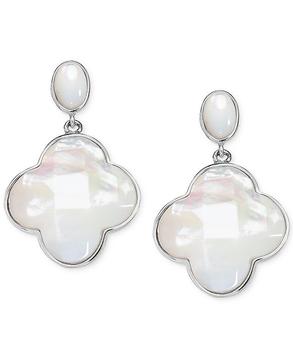Macy's Mother-of-Pearl Clover Drop Earrings in Sterling Silver