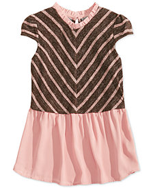 Monteau Big Girls Layered-Look Striped Hacci Top