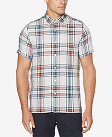 Perry Ellis Men's Regular-Fit Yarn-Dyed Plaid Linen Shirt