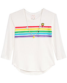 Belle Du Jour Big Girls Rainbow Striped Top & Necklace