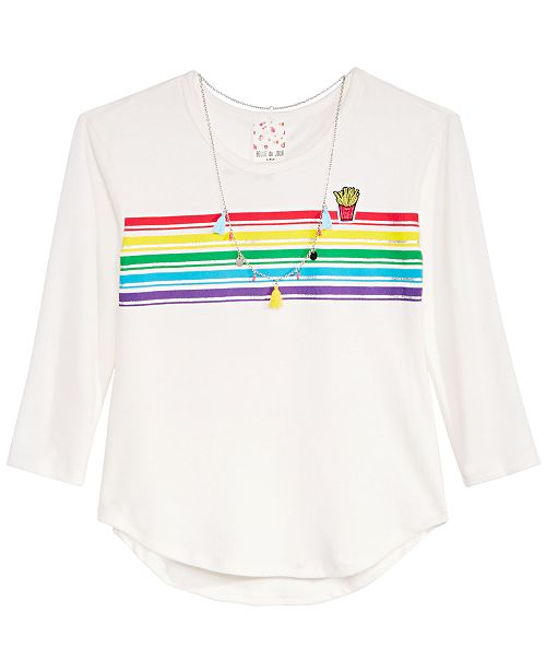 Big Girls Rainbow Striped Top & Necklace