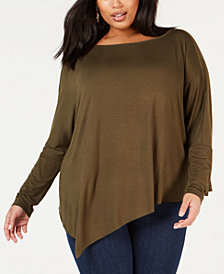 NY Collection Plus Size Dolman-Sleeve Asymmetrical Top