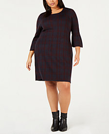 NY Collection Plus Size Plaid Jacquard Dress