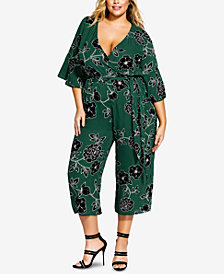 City Chic Trendy Plus Size Varsity Striped Floral-Print Jumpsuit