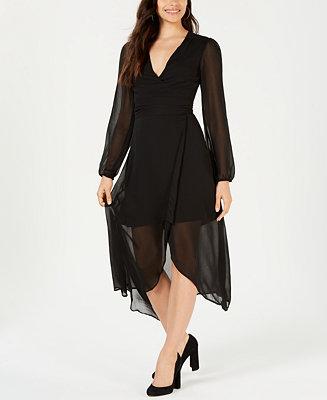 Leyden Sheer Long Sleeve Wrap Dress Amp Reviews Dresses